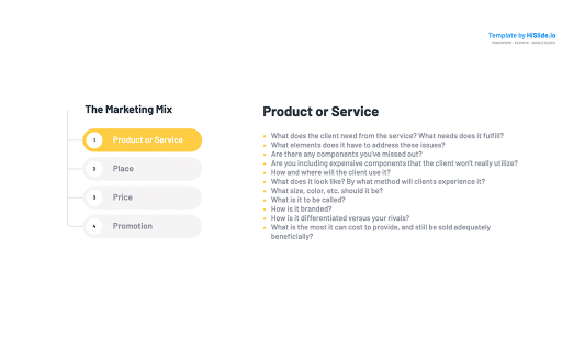 Product or Service Marketing Mix Template