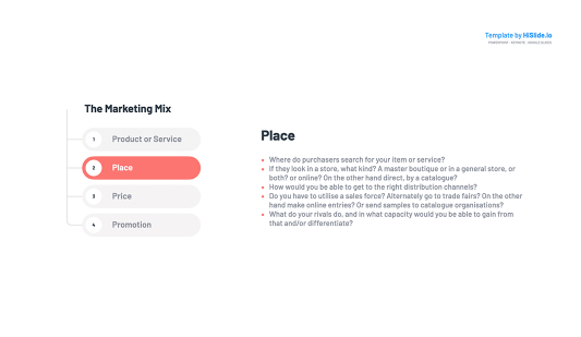 Place Marketing Mix Template