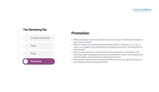 Promotion Marketing Mix Template