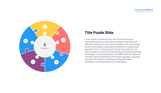 5 Pieces Puzzle Segmented Circle Google Slides