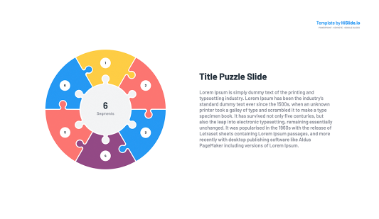 6 Pieces Puzzle Segmented Circle Google Slides