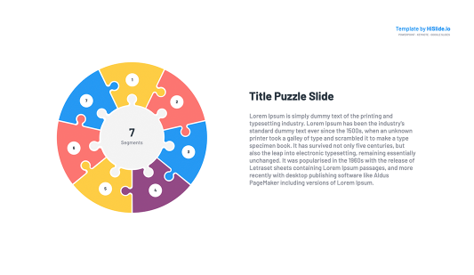7 Pieces Puzzle Segmented Circle Google Slides
