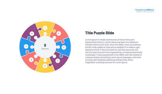 8 Pieces Puzzle Segmented Circle Google Slides