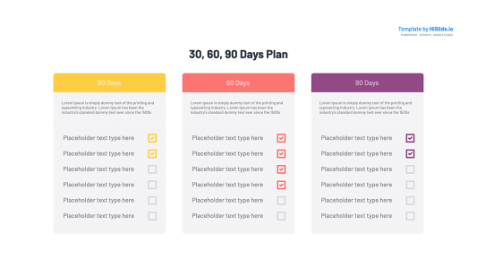 30 60 90 Day plan Google slides free