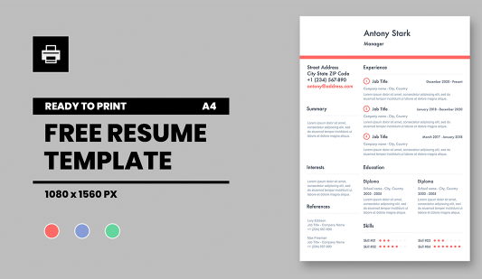 Resume template in Powerpoint presentation