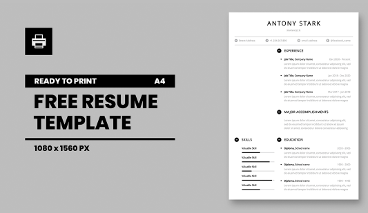 Free Resume template in Powerpoint presentation