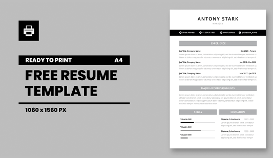CV Powerpoint template for print