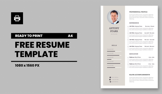 Personal CV Powerpoint template for print