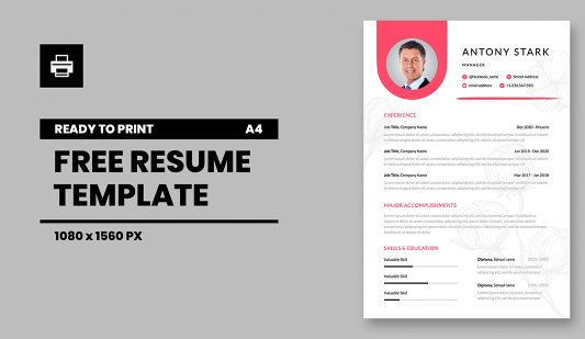 Elegant A4 Resume template in Powerpoint