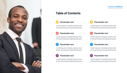 Table of contents in Keynote presentation