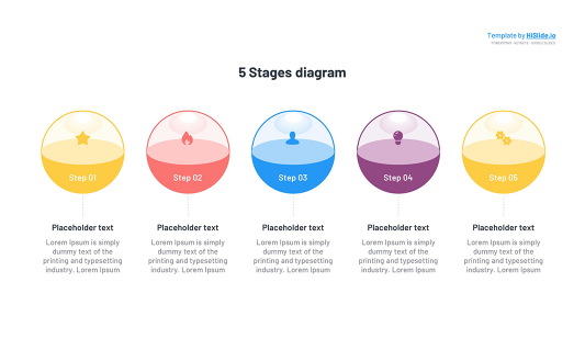 3D Circle 5 Stages Keynote template free