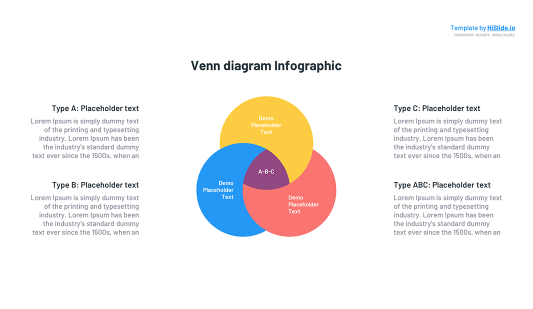 3 Colour Areas Venn diagram Keynote