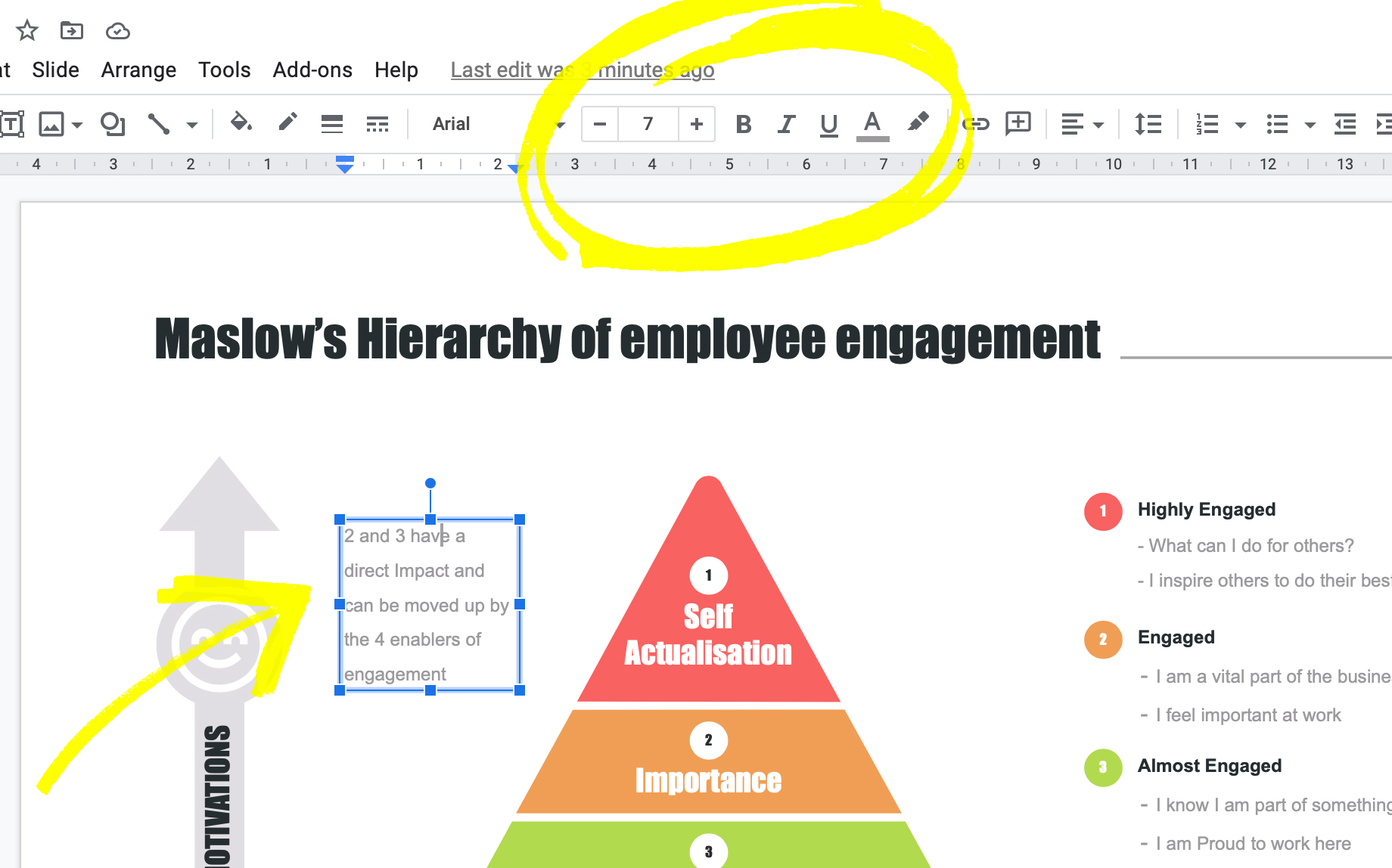 Options fonts in Google slides: colours, size, highlight