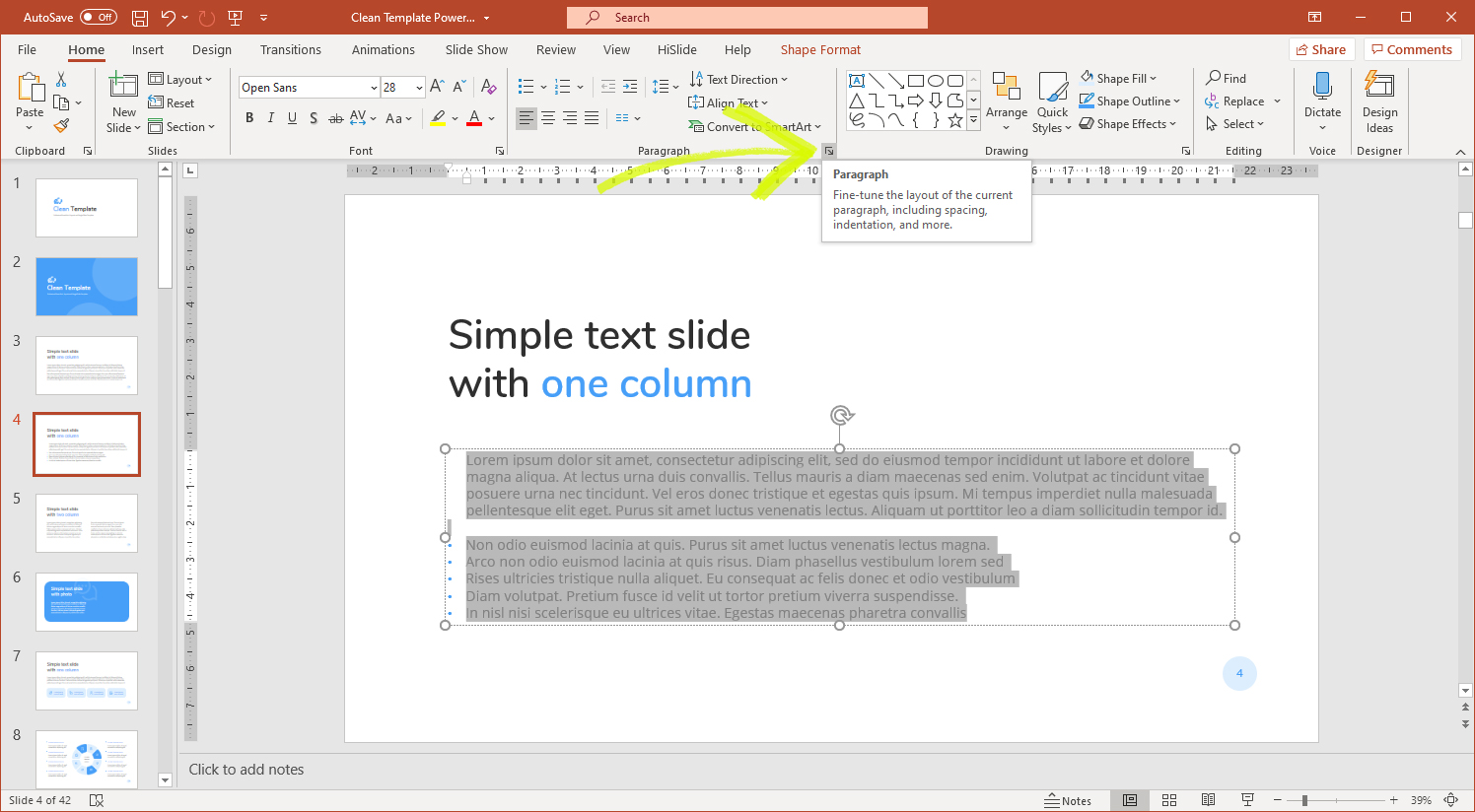 Configuring spaces and paragraphs
