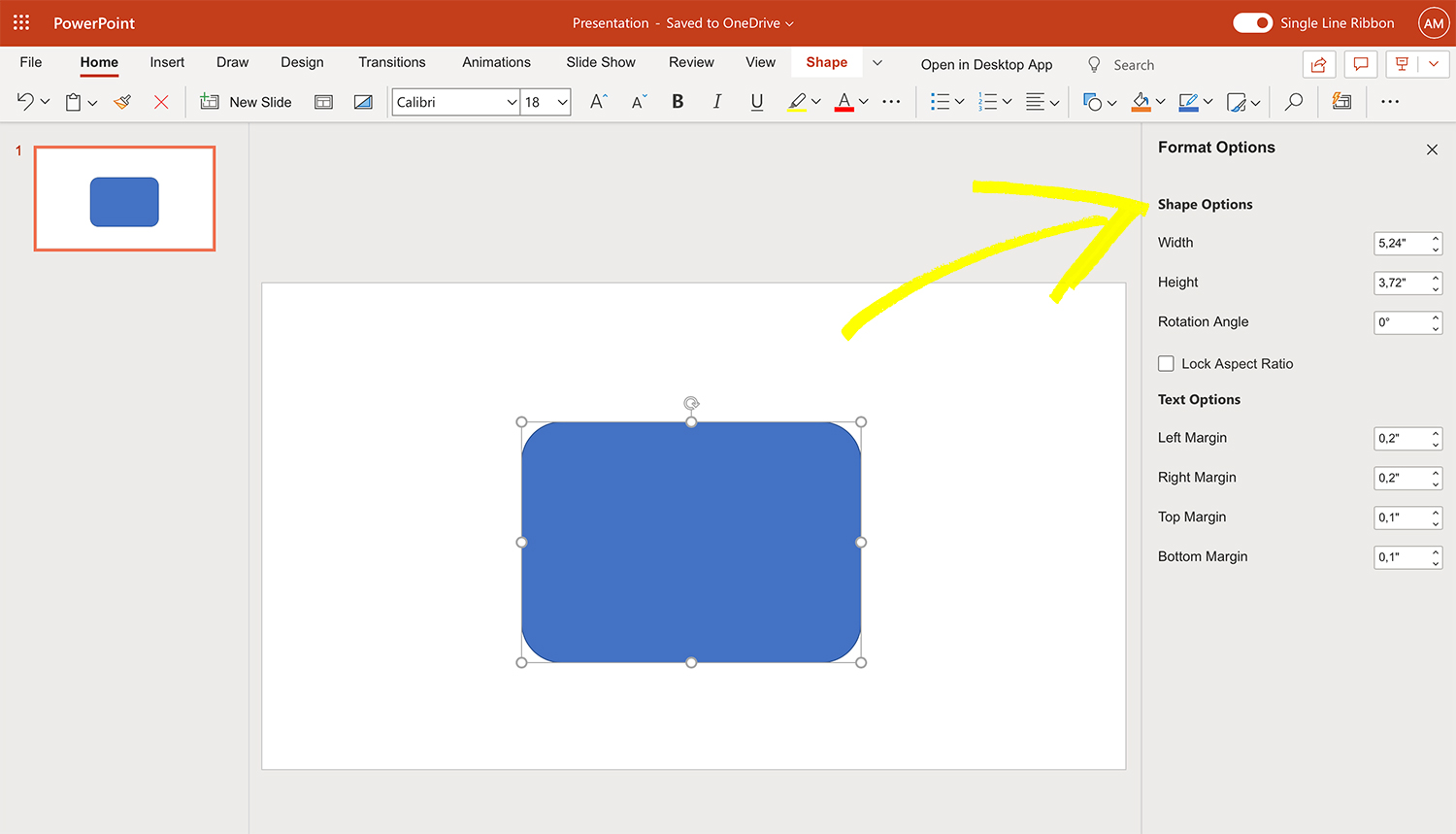 How to resize shape in PowerPoint