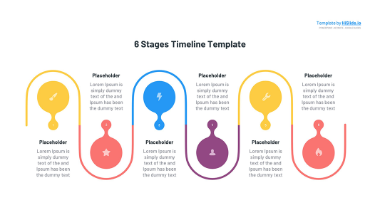 6 Stages Time line Powerpoint template