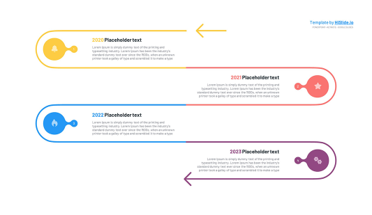 4 Stages Vertical timeline Powerpoint template