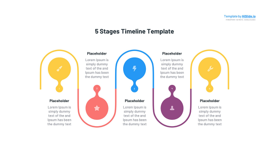 5 Stages Time line Google slides template