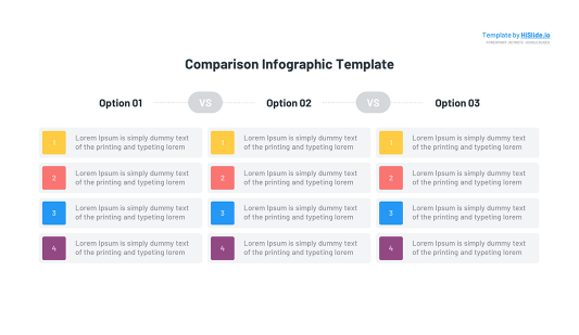 Free Comparison table template for Keynote
